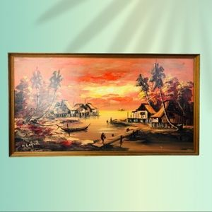 Tropical Landscape At Sunset Oil On Wood